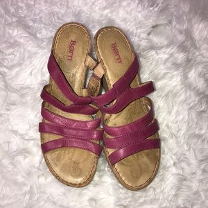Born Pink Wedge Sandals Heels Size 10